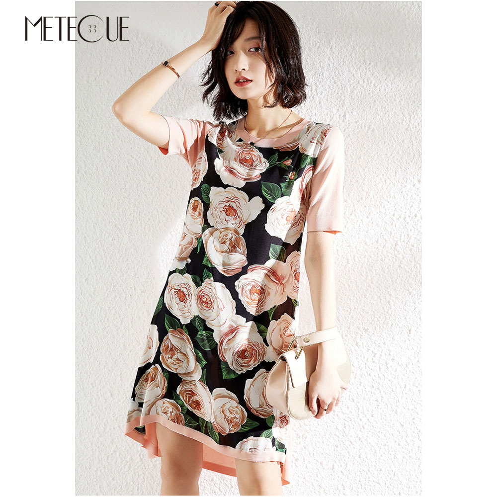 Silk Knitted Patched Floral Midi Dress 2019 Spring Summer Fashion Short Sleeve Midi Dress 2019 Spring