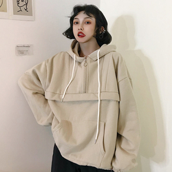 Hoodies Women Hooded Loose Solid Colour Simple All-match Korean Style Winter Thicker Plus Velvet Warm Sweatshirts Womens Trendy 3