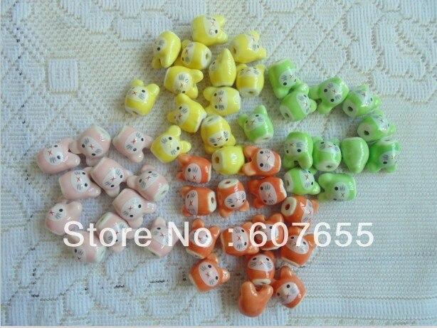 free shipping 40pcs/lot Diy accessories handmade materials 16mm rabbit cartoon ceramic beads needlework