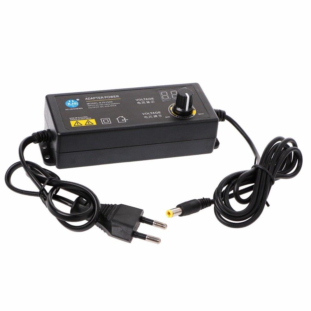 Freies lieferung 60W 3-24V Einstellbare Adapter Mit Display Screen Von Spannung DC 5,5x2,1/ 2,5mm Netzteil Eu-stecker