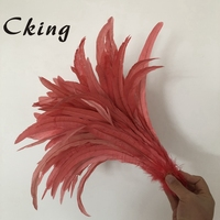 Coral Rooster tail Feathers 40 45cm 16 18 inches