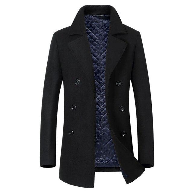 2018 Autumn New Long Excellent Quality Pea Coat Men Slim Turn Down Collar Laine Manteau Double Boutonnage