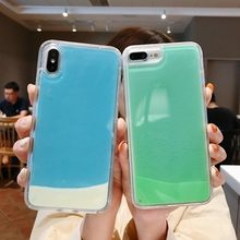 Luminous Neon ทรายสำหรับ iPhone 11 Pro XR XS MAX X 6 6S 7 8 PLUS GLOW ใน Liquid Glitter Quicksand ฝาครอบโทรศัพท์ Capa(China)