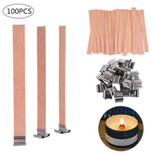 100 PCS Wood Candle Wicks with Iron Stand Cores Natural Environmental-friendly DIY Making For Home Church Deco