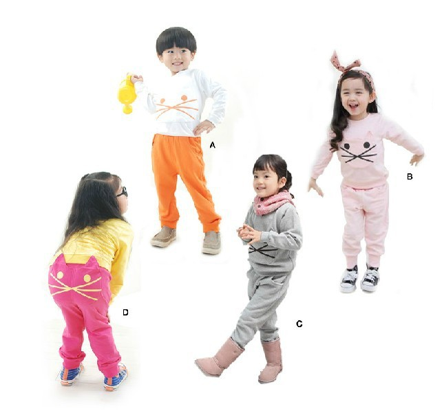 velvet cartoon hello kitty KT cat childrens clothing suit set girl's tops coat Hooded Sweater + pants whole suits outfits