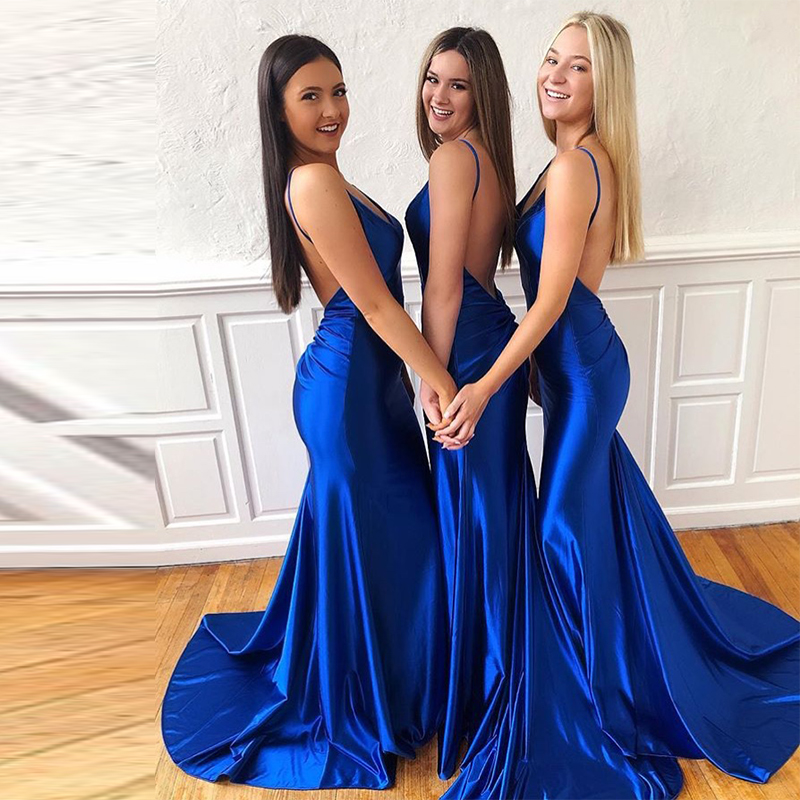 Sexy V-neck Royal Blue Evening Dresses Spaghetti Straps Formal Party Dresses Backless Mermaid Long Sweep Train Evening Gowns