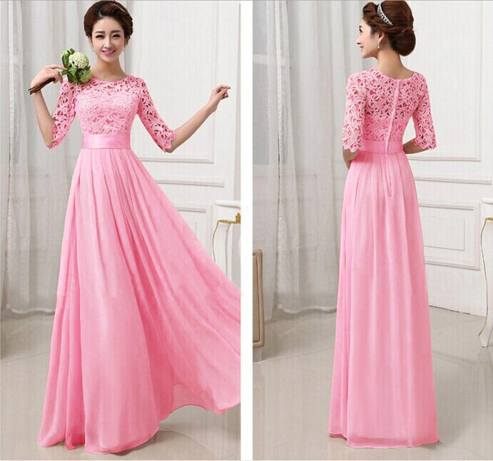 2016 spring autumn women lace chiffon long dress floor length
