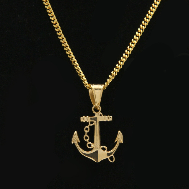 2017 stainless steel gold color hip hop anchor pendant necklace 60cm 2017 stainless steel gold color hip hop anchor pendant necklace 60cm long cuban link chain men aloadofball Images