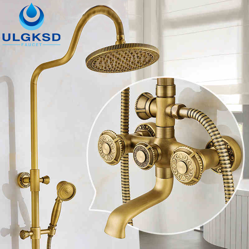 ULGKSD Antique Carved Bathroom Shower Faucet with Lifting Rod 8 Rainfall Carved Shower Head +Carved Handheld Sprayer