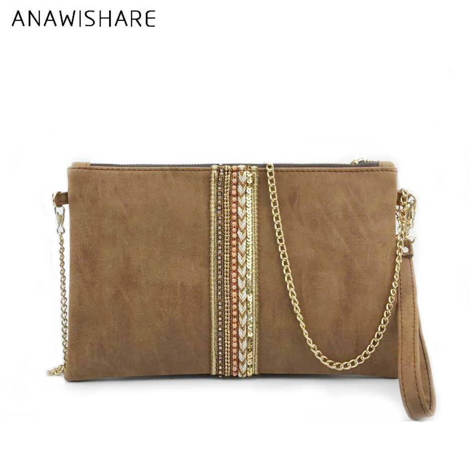 ANAWISHARE Women Day Clutches Leather Handbag Diamond Small Crossbody Bag For Women Messenger Bags Envelope Evening Party Bags