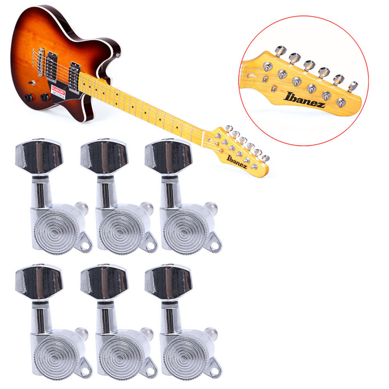 6pcs Guitar String Tuning Pegs Locking Tuners Keys Machine Heads Chrome 6pcs lot guitar tuners locking tuning keys pegs bass machine heads
