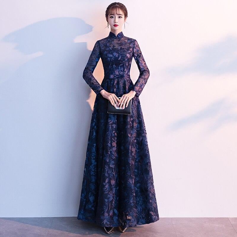 2019 Lace   Evening     Dress   Long Sleeves Custom Made Full Length Vintage Mother Of The Bride   Dresses   Vestido De Festa LF265