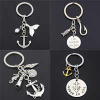1pc Fish Hook Fishing Keychains Beach Fish Keyring Anchor Lighthouse Charms Summer Jewelry Gift