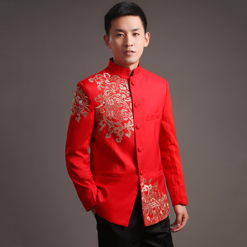 Chinese Style Wedding Suit Jacket Men Embroidery Patterns Male Tang Suit Mandarin Collar Red Suit Jackets - Modern Wedding Dress Designers