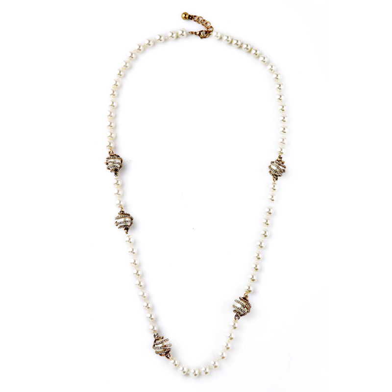 Elegant Imitation Pearl Beads Necklace For Women Long Clothes Chain Fashion Necklaces Fine Gems Luxurious Jewelry