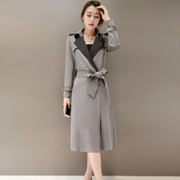 2017 Trench Coat Aurumn And Winter Suede Material Womens Trench Coats High Fashion Belt Silm Gray