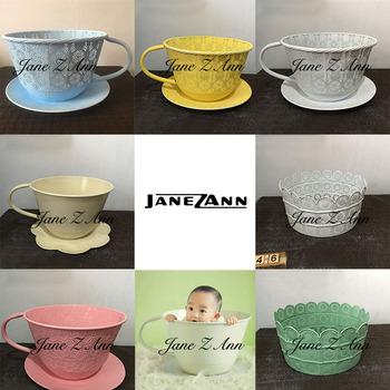 Jane Z Ann Newborn baby photography props infant iron cup basket creative picture ideas photo shoot studio accessories