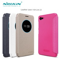 For zuk z2 nillkin sparkle series PU Leather Case Hard PC Back Cover Flip Smart Sleep/Wake up phone bag case for z2 zuk