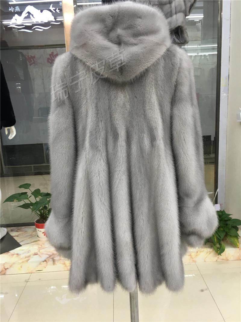 2016 New Women Natural Real Mink Fur Coat With Hood Long-sleeve Water Mink Female Outwear
