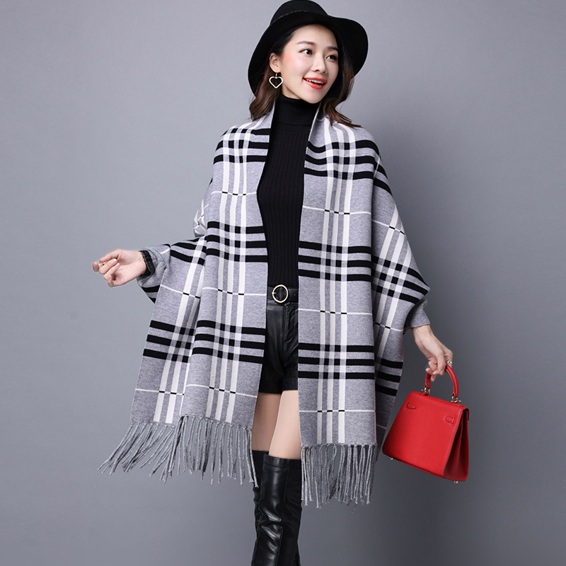 Ladychili Fashion Women Keep Warm Long Boatwing Sleeve Narrow Plaid Cardigan Scarves Wraps with Tassel Knit Winter Swing S71