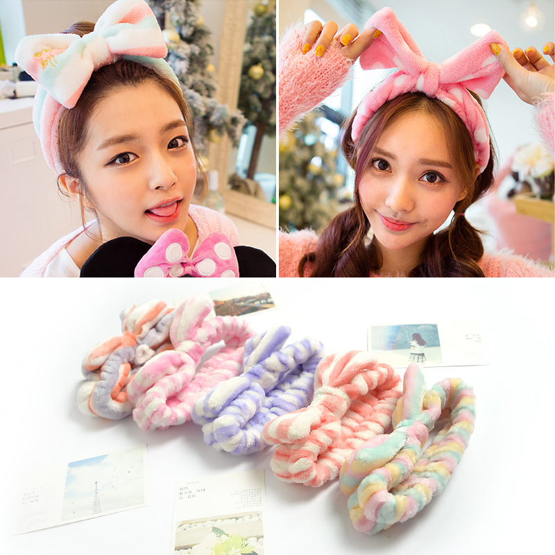 Rainbow Women's   Headwear   Bow Dot Striped Coat Soft Shower Bath Spa Headband Hair Accessories Makeup Cute Rich Elastic 20 Colors