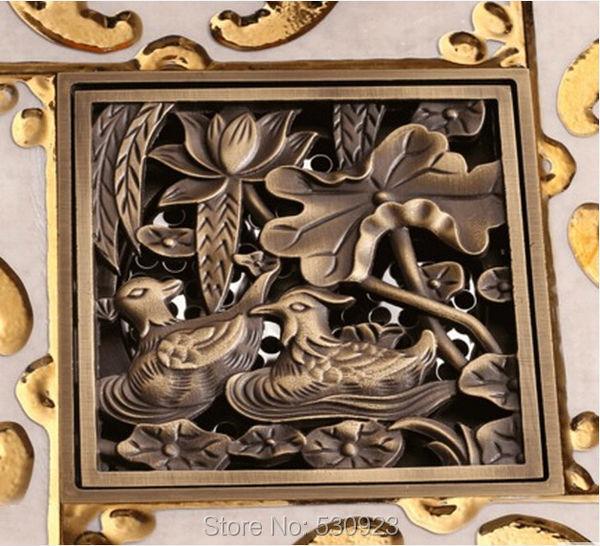 Vintage Mandarin Duck Carved Pattern Antique Brass 4-inch Square Floor Drain Bathroom Kitchen Balcony Deodorization Type