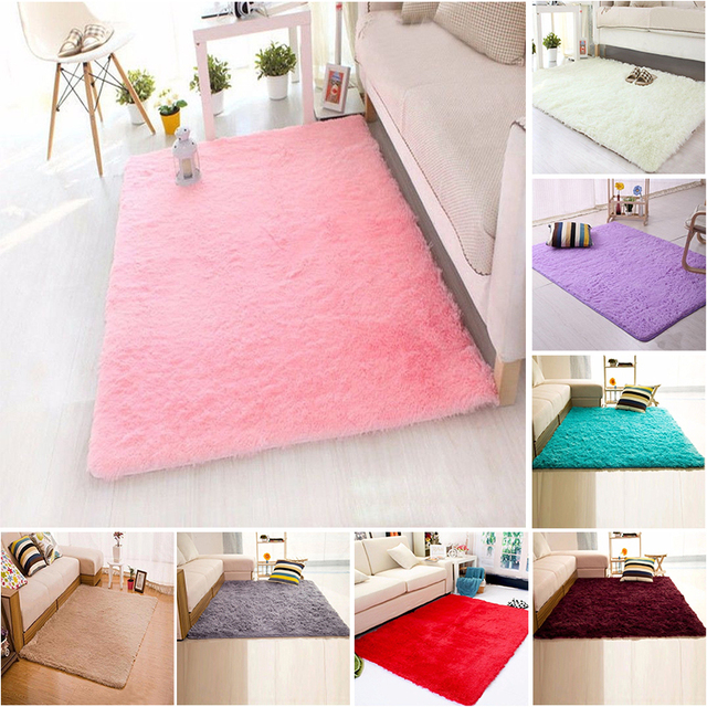 60cm*120cm Plush Shaggy Soft Carpet Bed Area Rugs Slip Resistant ...