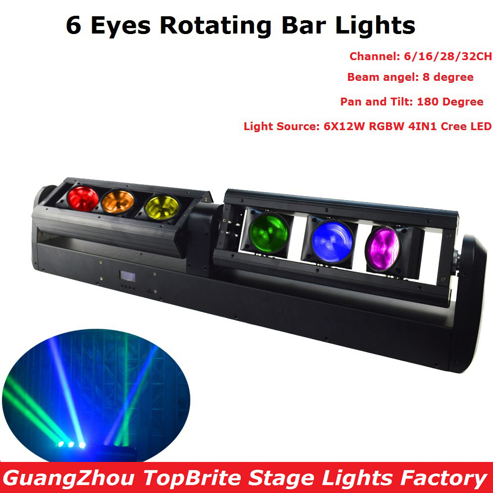 1 Pack LED Bar Beam Moving Head Lights 6X12W RGBW Quad Color CREE Chip LED Rotating Bar Lights Perfect For Party Dj Christmas brighter than phlatlight 60w led chip module cst90 ssd90 60w led moving head lights source 6500k 3000 lumen