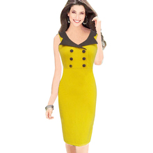 Aamikast Women Dresses Hot Sale Celeb With Button Patchwork Bodycon Pencil Party Dresses Free Shipping Size S M L XL XXL