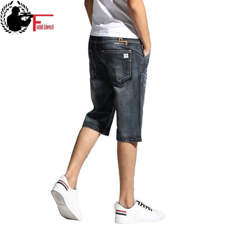 Men Clothes 2019 Men's   Shorts   Knee Length Breeches Hot Capris Male Denim   Shorts   Men Stretch   Shorts   Jeans Bermuda Black Grey Blue
