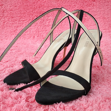 Women Stiletto Thin Iron High Heel Sandals Sexy Ankle Strap Buckle Open Toe Black Suede Party Bridals Ball Lady Shoes 3845-i5 women ruffle flounce high heel suede stiletto open toe sexy mature sandals green dress shoes buckle