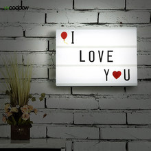Woodpow A4 Size USB AA Battery LED Combination Night light Box DIY Letters Symbol Cards Decoration Lamp Message Board Lightbox(China)