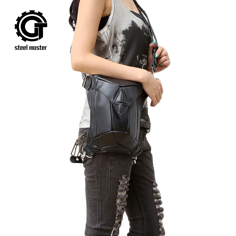 Steel Master Steampunk female bag 2016 leisure gothic shoulder bag men and women purse personality punk waist bag casual leg bag 2017 new steam punk punk street gothic personality hole slim slim female stretch leggings