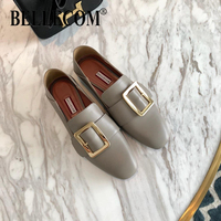 BELLECOM 2019 Spring and Summer New Metal Square Button with One Pedal on Leather Leisure Flat sole Single Shoes Comfortable Lef