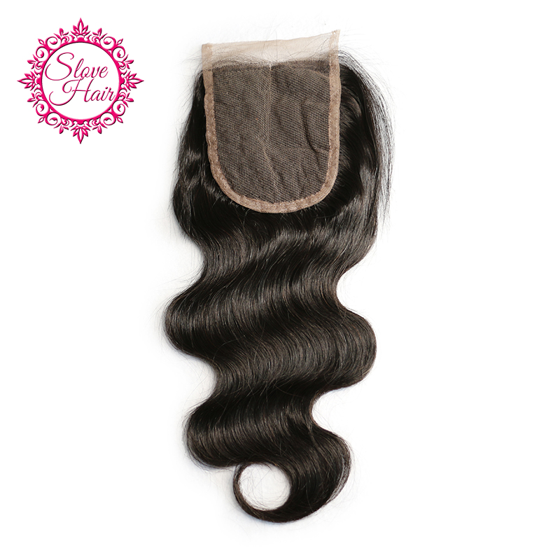 Slove 4x4 Brazilian Body Wave Human Hair Bundles Swiss Lace Closure Middle Part With Bleached Knots