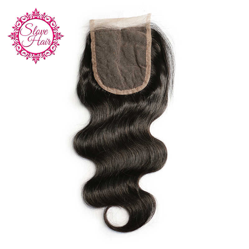 Slove 4x4 Brazilian Body Wave Human Hair Bundles Swiss Lace Closure Middle Part With Bleached Knots Remy Hair 8''-20''