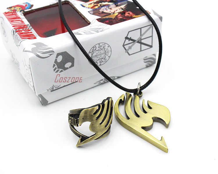 Anime fée queue anneau collier ensemble Cosplay alliage pendentif bijoux accessoire ensemble avec boîte unisexe Souvenir cadeau