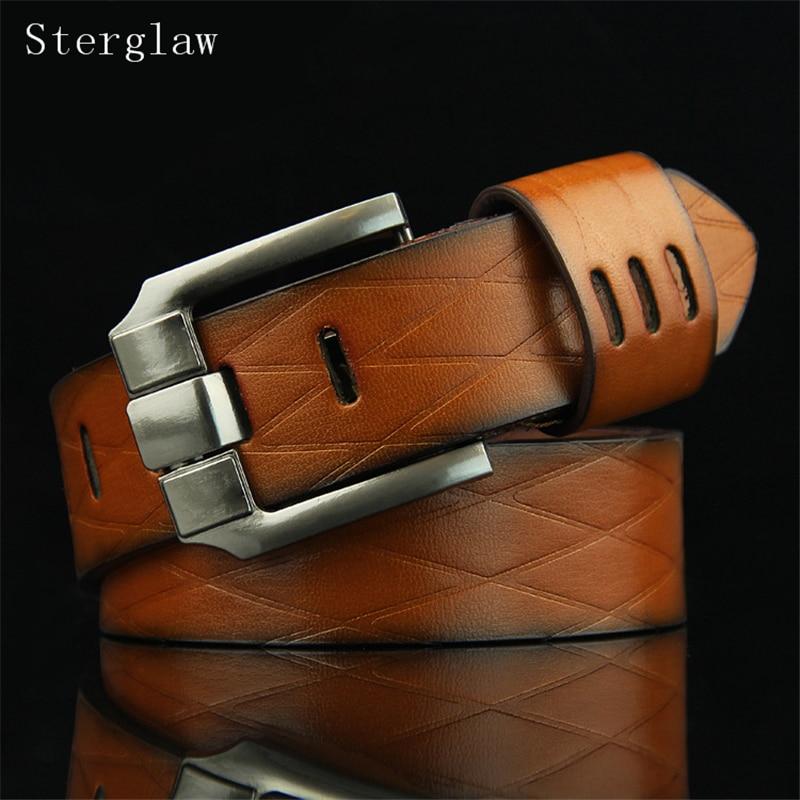 110cm New Limited 2018   Belt   Geometry Grid Strap Male   Belts   For Buckle Fancy Vintage Jeans Cintos Masculinos Ceinture Homme U115