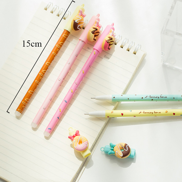 2+50/Set 0.5mm Cute Donuts Ballpoint Pens Kawaii Erasable Pens Blue Ink Ball Pens For Girls Writing School Supplies Stationery 1