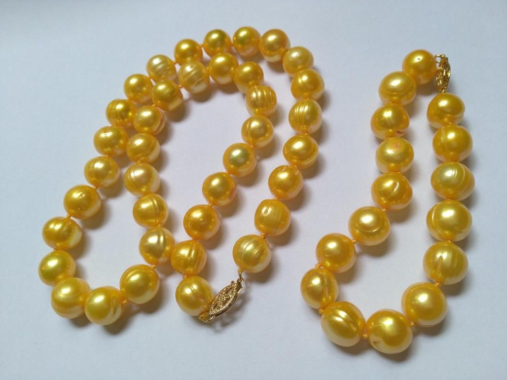 ENORME NATURAL AAA 11-12 MM SOUTH SEA GOLD PEARL NECKLACE + BRACELET925silver ORO CHIUSURAENORME NATURAL AAA 11-12 MM SOUTH SEA GOLD PEARL NECKLACE + BRACELET925silver ORO CHIUSURA