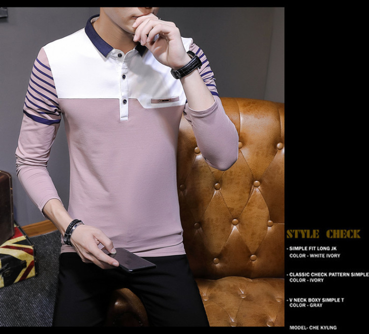 Business Casual Long Sleeve Men Polo Shirt Striped Autumn Winter Polos Cotton Slim Fit Camisa Polo Masculina 83