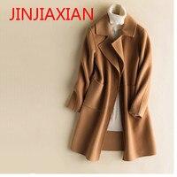 Новый европейский и американский двойной шерстяное пальто с длинным шерстяное пальто