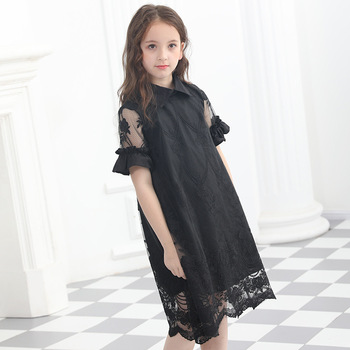 Teenage Girls Dress Summer Clothing Chiffon Dress Turn-down Collar Kids Princess Lace Dresses Korean Girls Short-sleeved Vestido