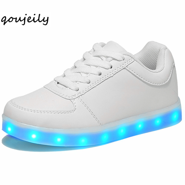 c5940cfe3ccb Qoujeily Luminous Sneakers USB Light Up sole basket Growing sneaker Tenis  man Feminino Led Shoes