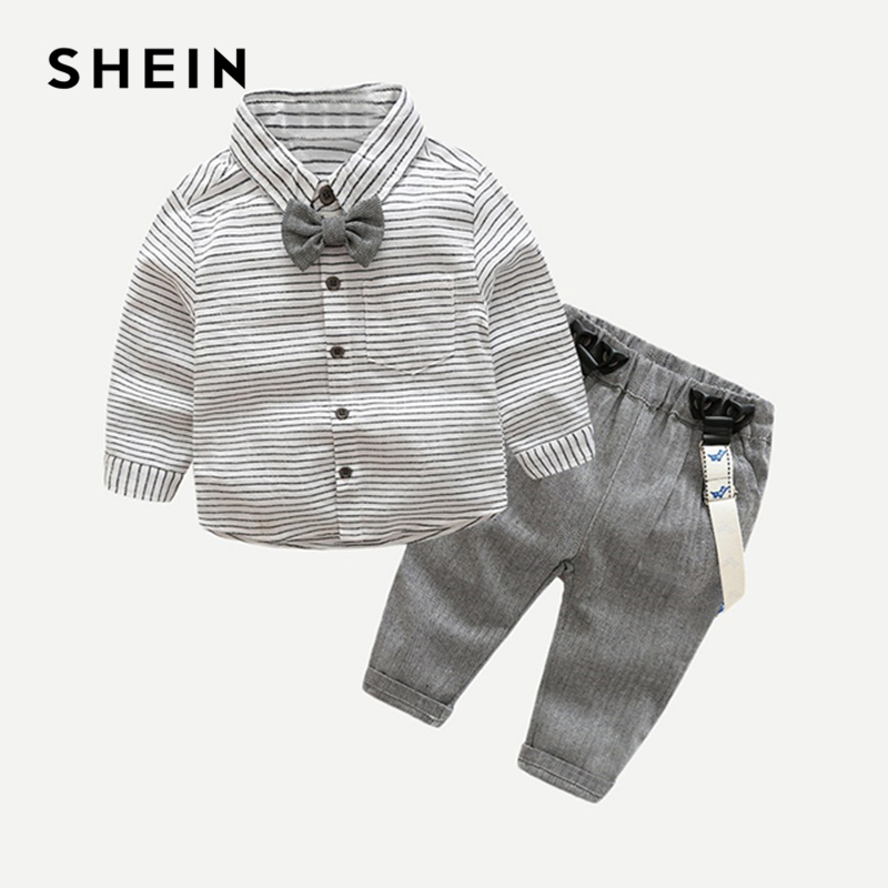 SHEIN Kiddie Toddler Boys Bow Front Striped Preppy Shirt With Pants Children Set 2019 Spring Long Sleeve Casual Boys Kids Suit 2 3 4 5 6 year boys clothes 2018 new casual cotton kids suits for boy spring autumn long sleeve toddler children clothing set