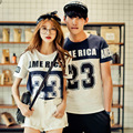 Korean Punk Couple Clothes 23 Letters Prints T-Shirt Women Rock Couple Clothing Casual Tops Valentine'S Day Plus Size White