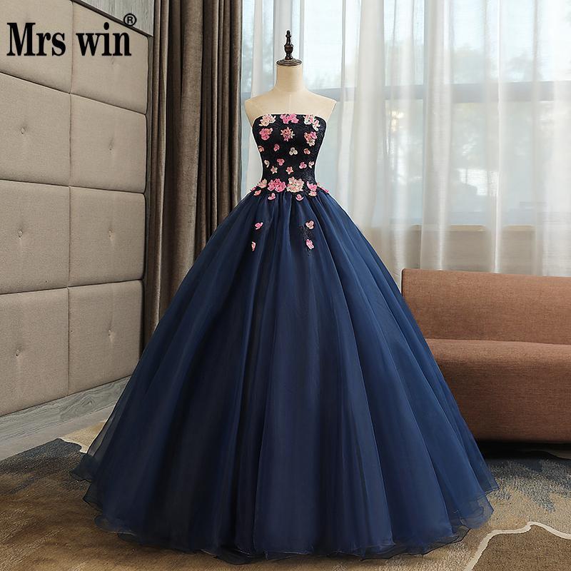 Quinceanera Dresses Mrs Win The Party Prom Elegant Strapless Ball Gown Sweet Flower Formal Homecoming Quinceanera
