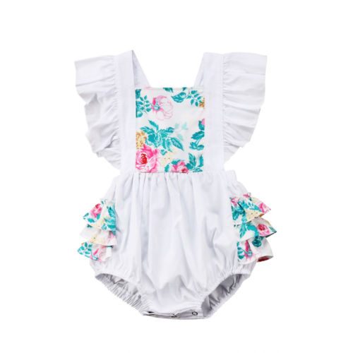 Sleeveless Newborn Kids Baby Girl White Floral Romper Short Sleeve Jumpsuit Sunsuit Outfit Clothes