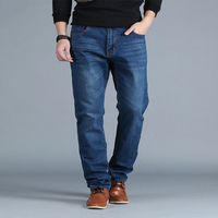 Oversize Men Regular Fit Straight Jeans Plus Size Denim Pants Classic Autumn Winter Fat Men S