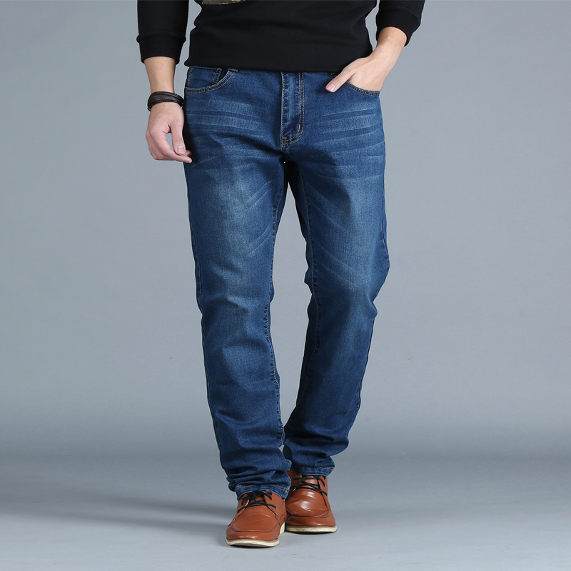 Oversize Men Regular Fit Straight Jeans Plus Size Denim Pants Classic Autumn Winter Men's Clothing 2017 40 42 44 46 48 купить